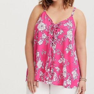 New Torrid Sophie - Pink Floral Lace-up Swing Cami
